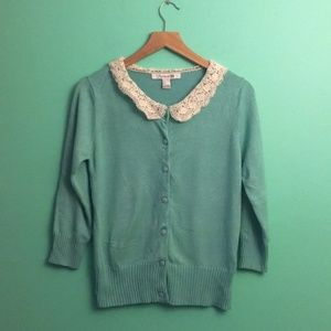 Forever 21 Lace Knitted Collar Teal Cardigan
